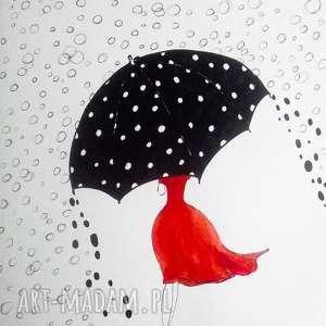 W DESZCZU SFER akwarela artystki plastyka Adriany Laube, akwarela, kobieta, parasol