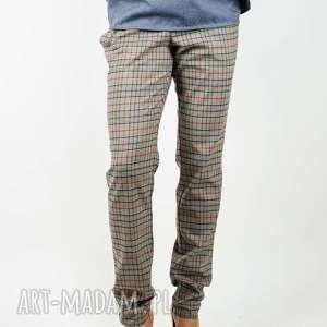 wiązane spodnie w kratę, krata, kratka, dopasowane, eleganckie, talia