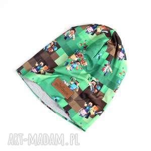 czapka kolorowa zielona minecraft beanie - minecraft, czapka, ciepła, kolorowa