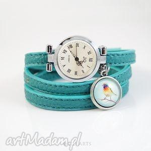 Prezent Bransoletka, zegarek - Kolorowy ptak - turkusowy, morski, ptaszek