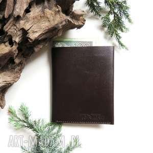 ręcznie robione portfele portfel męski brązowy