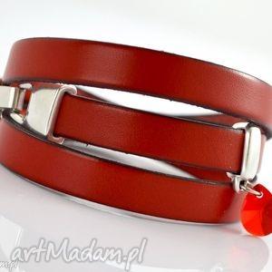 bransoletki bransoletka z rzemieni joyee triple cristal red, bransoletka, skóra