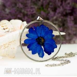 Prezent z92 Naszyjnik z suszonymi kwiatami, Herbarium Jewelry, kwiaty w żywicy
