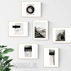 zestaw 6 grafik 13 x 18 cm, obrazy ręcznie malowane, grafiki do salonu