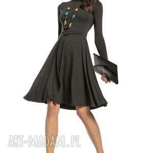 sukienki zwiewna sukienka z delikatnej wiskozy golfikiem, t289, ciemnoszary