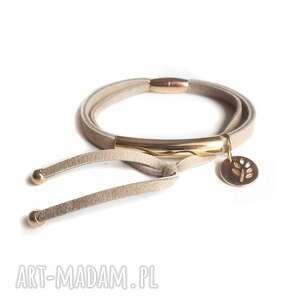 ręczne wykonanie bransoleta skórzana beż tube double