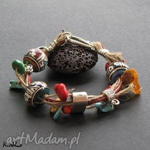 bransoletka len z aztecką ceramiką i kamieniami, bransoletka, lniana, ceramika