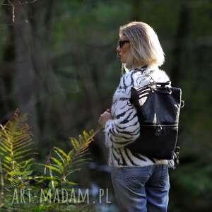 plecak / torebka 2 w 1 z czarnej skóry ekologicznej, pikowana, skóra