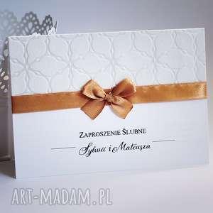 Zaproszenie z papierem tłoczonym, zaproszenie, ślub, zawiadomienie, tłoczone