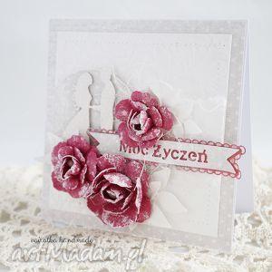 ręcznie wykonane scrapbooking kartki ślubna z różami