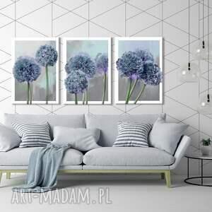 obraz drukowany na płótnie kwiat czosnku -duży format 3 części każda 50x70cm