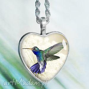 Prezent Piękny unikatowy naszyjnik z kolibrem w szkle, serce, ptaszek, ptak
