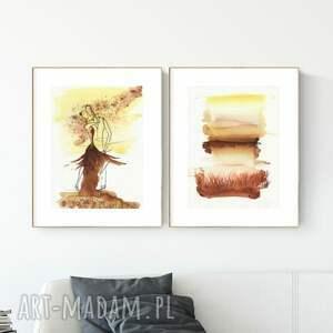zestaw 2 obrazów 30x40 cm wykonanych ręcznie, abstrakcja, 2922146, obraz ręcznie