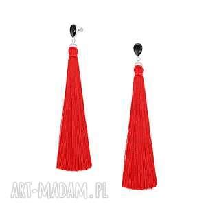 długie kolczyki z czerwonym chwostem - boho - valiant poppy swarovski