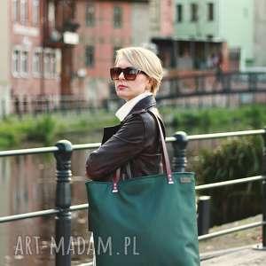 duża torba - zieleń z bordo, na ramię, shoperbag, prezent