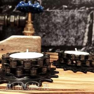 świeczniki rack 2 szt, metalowy, rowerowy, prezent, industrialny, loft, łańcuch, pod