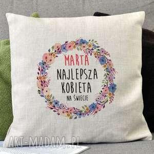 poduszki lniana poduszka dekoracyjna z personalizowanym nadrukiem - dla najlepszej