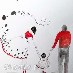 RAZEM PRZEZ ŚWIAT akwarela artystki plastyka Adriany Laube, akwarela, rodzina, mama