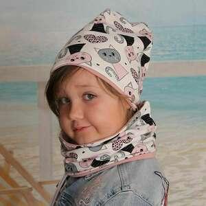 koty kremowa czapka z kominem dla dziewczynki, rozmiary 0-8 lat