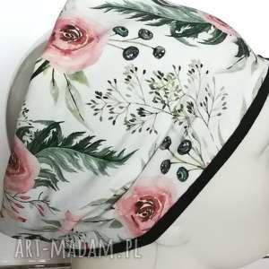 opaska damska wiosenna szeroka w kwiaty boho handmade sportowa, opaska, kwiaty, joga