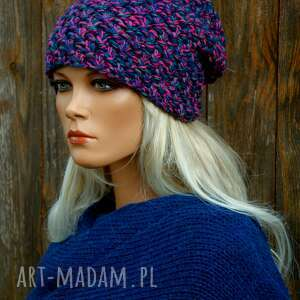 czapka handmade nr 21, kolorowa czapka, zimowa wełniana damska