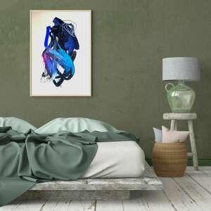 niebieska abstrakcja 100x70, duży obraz do salonu, sypialni