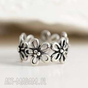 pierścionki 925 kwiaty srebrny pierścionek, kwiaty, kwiat, motyw, srebro