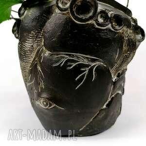 osłonka ceramiczna - serce, osłonka, doniczka, dekoracje, donica, rzeźba, wazon