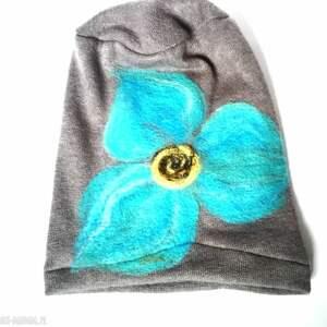 czapka szara wełniana handmade - wełna, kwiaty, czapka, szara, etno, kolorowa