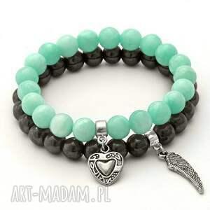 steel hematite mint jade set with pendants, jadeit, hematyt, piórko, serce