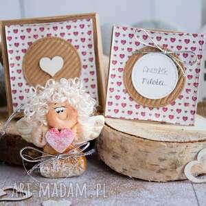 Aniołek miłości personalizowana mini kartka, pudełeczko