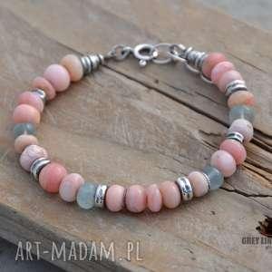 grey line project opal i akwamaryn bransoletka, srebro, opal, akwamaryn