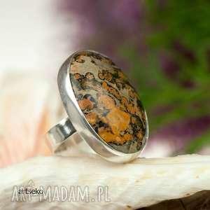 srebrny pierścionek z pięknym jaspisem a279 - pierścionek srebrny, klasyczny