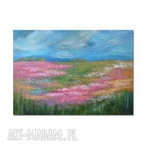 Łąka /4 / obraz ręcznie malowany, obraz, ręcznie, łąka, kwiaty, pejzaż