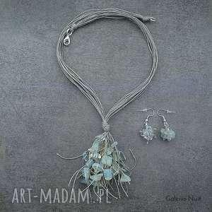 opalit - komplet biżuterii lnianej - opalit, opal, niel, boho, ślub, oryginalny