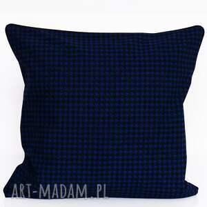hand-made poduszki poduszka bawełnina pepitka granat 40x40cm wyprzedaż