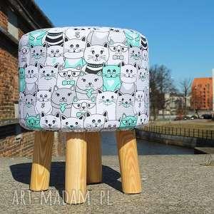 Pufa Miętowe Kotki 36 cm , puf, taboret, stołek, ryczka, siedzisko, hocker