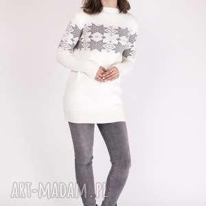 Sweterek we wzory, SWE128 ecru/szary MKM, skandynawski, dzianina, dzianinowy, praca