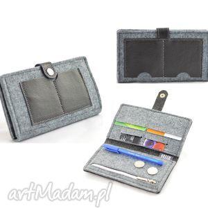 minimalistyczny portfel - filc i skóra- midi, portfel, portmonetka, męski, unisex