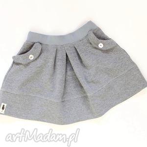 SPÓDNICZKA medium grey, spódnica, dzianina, zakładki, kieszenie, melanż