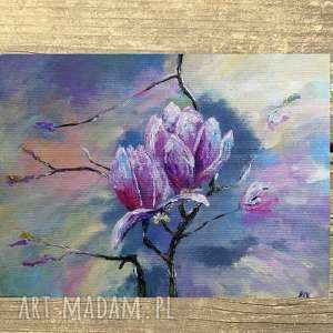 obraz na płótnie - magnolie 40/30 cm, obraz, kwiaty, fiolet, magnolie, róż, akryl