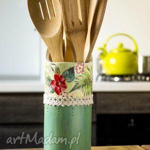 Kubek na łyżki, pudełko, kubek, decoupage, kuchnia, organizer, folk
