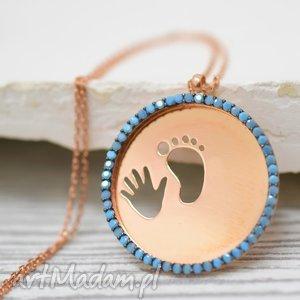 naszyjniki 925 różowo pozłacany łańcusze ślady, stopy, stopa, ręka, medalik, złoty