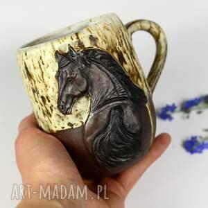 handmade kubek ceramiczny z koniem duży leśne opowieści 460 ml, ceramika