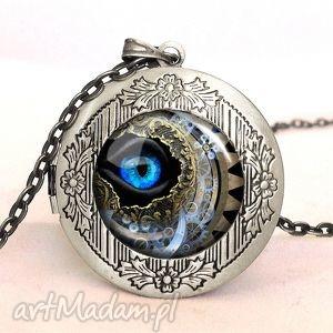 steampunk - sekretnik z łańcuszkiem - naszyjnik prezent, oko