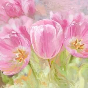 tulipany obraz na płótnie, 80 x 50 namalowany ręcznie w technice digital