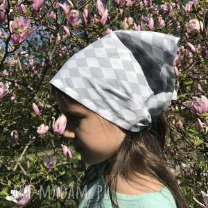 Chustka bawełniana, wzór diamenty, na głowę, szyję, bandana