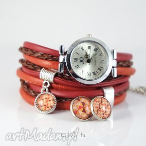 Prezent Komplet - zegarek i kolczyki rudy, brązowy owijany, rzemienie,