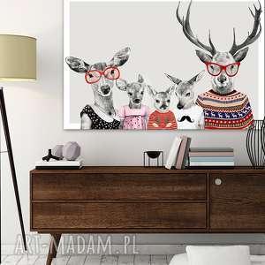 obraz na płótnie - 120x80cm rodzina jeleni 2 3wysyłka w 24h 02202