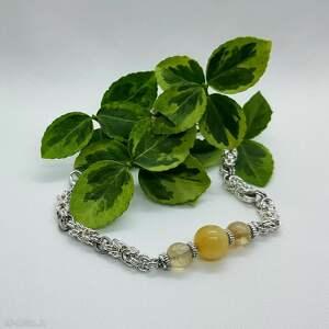 bransoletka z jadeitem - stal szlachetna, bransoleta, hematyt, chainmaille
